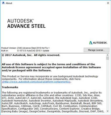 Advance steel 2018 hotfix install version