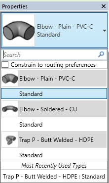 autodesk revit model ptraps pipes waste elbow properties