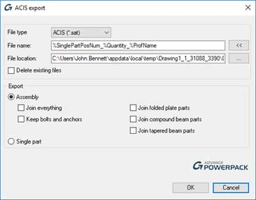 advance steel acis sat export dialog box