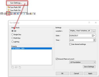 daylight analysis revit location sun settings
