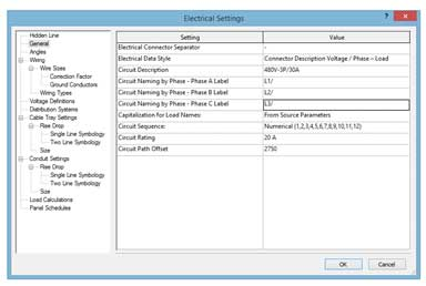 electrical circuits revit phase label