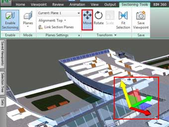 navisworks section plane view enable sectioning planes transform