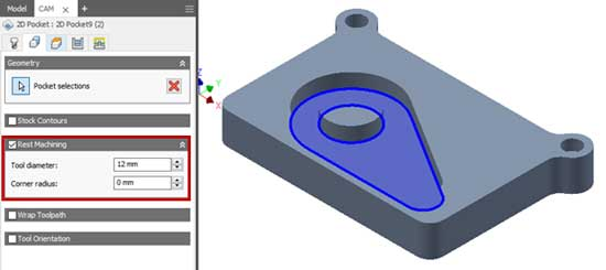 remachining rest calculations hsm inventor 2d pocket 12mm