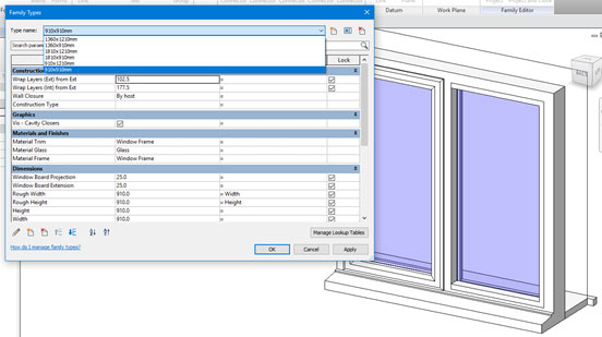 revit family type selection