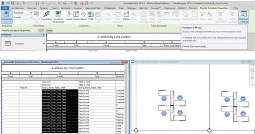 selection options revit multi select tab highlight in model