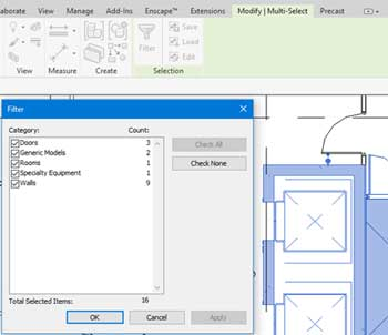 selection options revit multi select tab