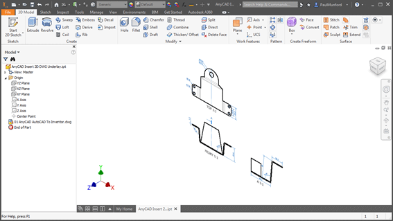 An AutoCAD LT DWG File Inserted into Inventor LT as an AnyCAD Underlay