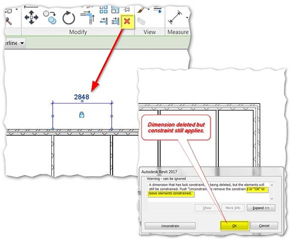Autodesk Revit Locked Constraint Choice Unconstrain or OK