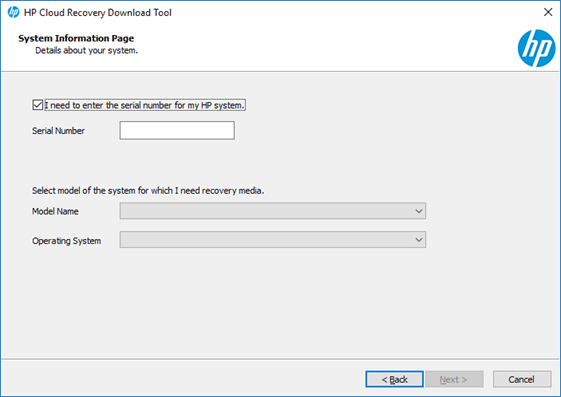 HP Cloud Recovery Download Tool