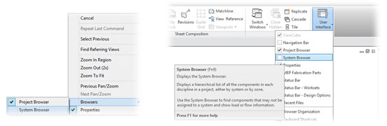 How to access the Revit MEP System Browser