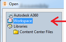 Inventor recovering an old version workspace Image
