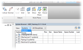 Revit MEP System Browser Systems Zones and Discipline Filter