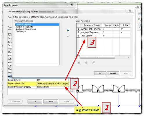 Autodesk Revit's Equality Dimension Display Options Step 1 2 and 3 image