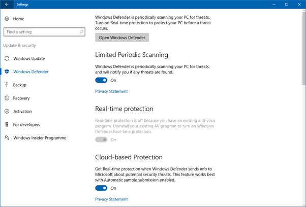 Windows Anniversary Update Windows Defender