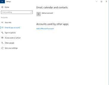 Windows Settings Email App Accounts