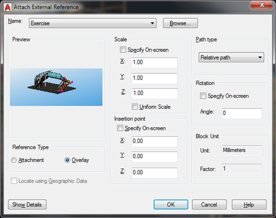 Autocad attach external reference ga drawing workflow advance steel
