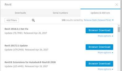 autodesk release 2018 addons lists