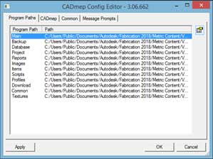 cad mep configuration menu edit repath