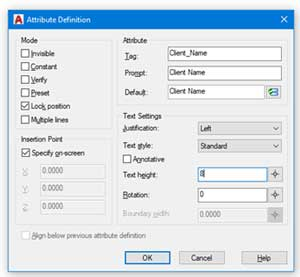 efficiencies autocad attributes definition