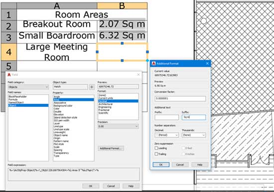 efficiencies autocad field options