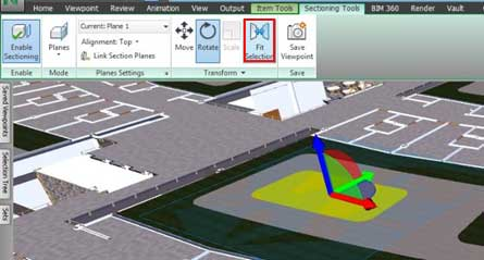 navisworks section plane view enable sectioning planes fit selection