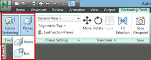 navisworks section plane view enable sectioning planes