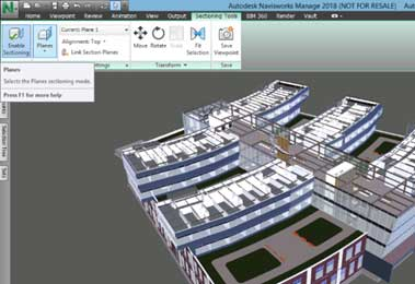navisworks section plane view enable sectioning top