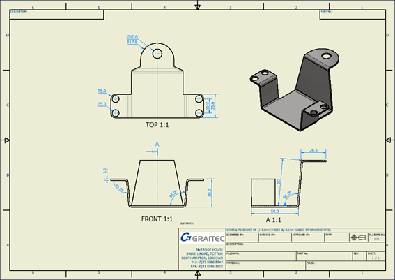 An AutoCAD LT Drawing Agmented with a 3D View from Inventor
