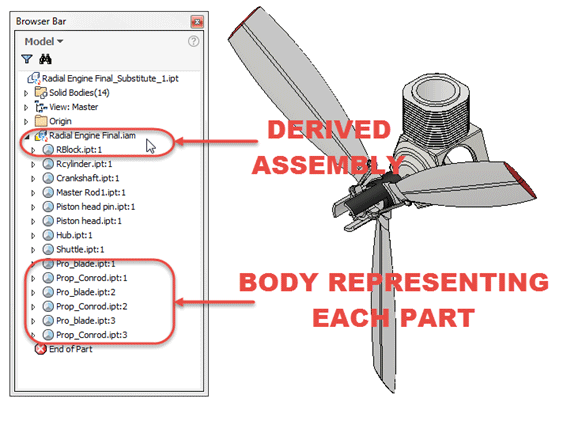 Autodesk Inventor Derived Assembly with Solid Bodies