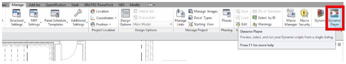 Dynamo Player Button in Revit