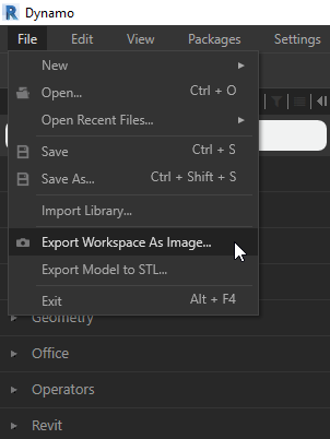 Dynamo Export Workspace