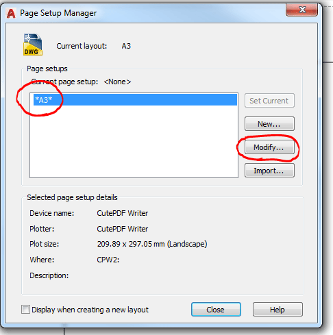 Page Setup Manager window