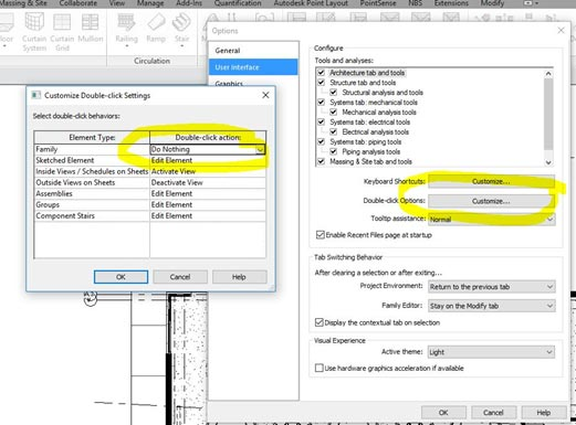 Prevention of Accidental Double Clicks in Autodesk Revit