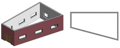 roof irregular building revit